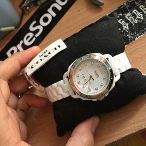 COACH women's Tatum white ceramic bracelet watch